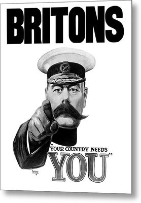 Lord Kitchener - Britons Your Country Needs You Metal Print by War Is Hell Store