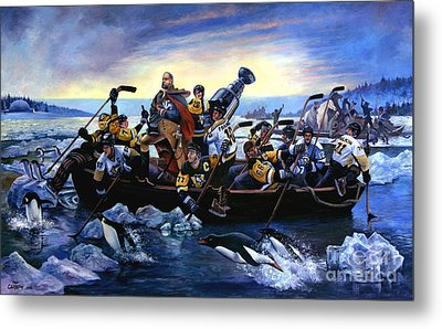 Lord Stanley And The Penguins Crossing The Allegheny Metal Print