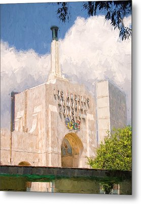 Metal Print featuring the painting Los Angeles Coliseum by Ike Krieger