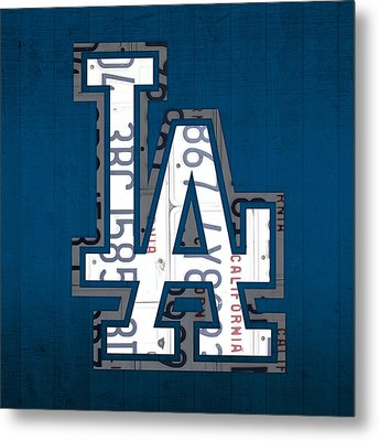 Los Angeles Dodgers Baseball Vintage Logo License Plate Art Metal Print by Design Turnpike