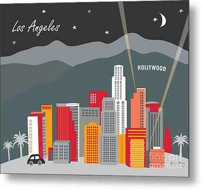 Los Angeles California Horizontal Skyline - Hollywood Hills - Night Metal Print by Karen Young