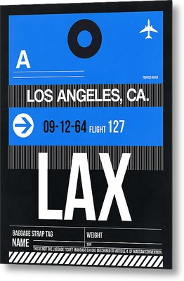 Los Angeles Luggage Poster 3 Metal Print by Naxart Studio