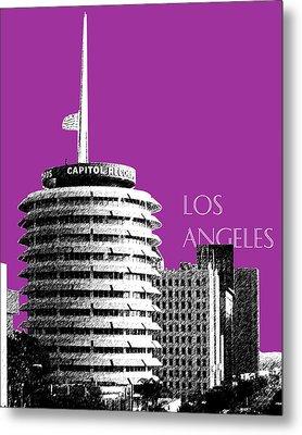 Los Angeles Skyline Capitol Records - Plum Metal Print by DB Artist