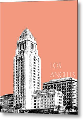 Los Angeles Skyline City Hall - Salmon Metal Print