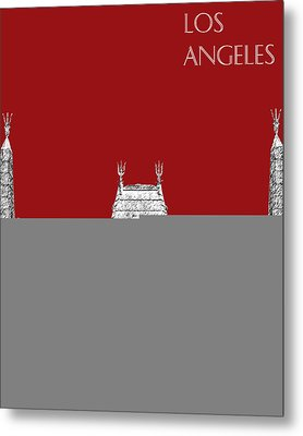 Los Angeles Skyline Graumans Chinese Theater - Dark Red Metal Print by DB Artist