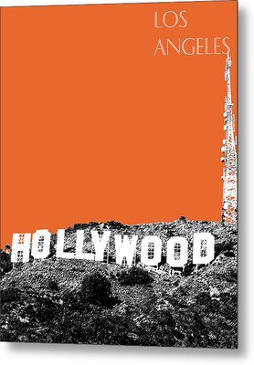 Los Angeles Skyline Hollywood - Coral Metal Print