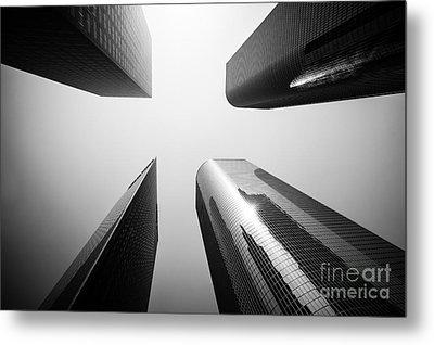 Los Angeles Skyscraper Buildings In Black And White Metal Print by Paul Velgos