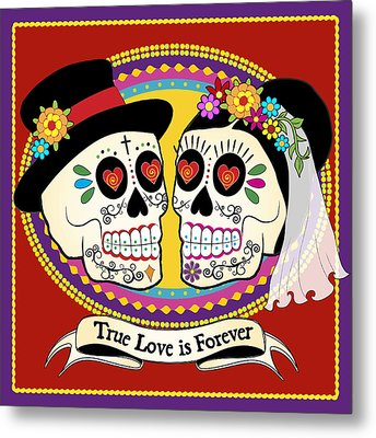 Los Novios Sugar Skulls Metal Print by Tammy Wetzel