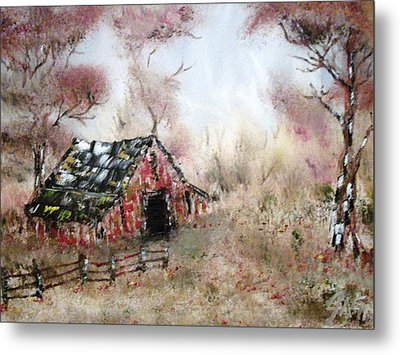 Metal Print featuring the painting Lost Barn by The GYPSY And DEBBIE