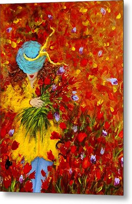 Lost In A Field Of Tulips.. Metal Print by Cristina Mihailescu