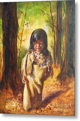 Lost In The Woods Metal Print by Karen Kennedy Chatham