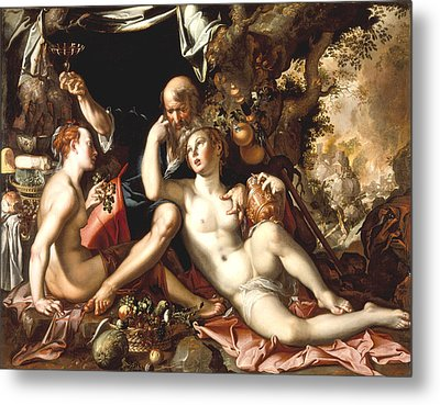 Lot And His Daughters Metal Print by Joachim Antonisz Wtewael