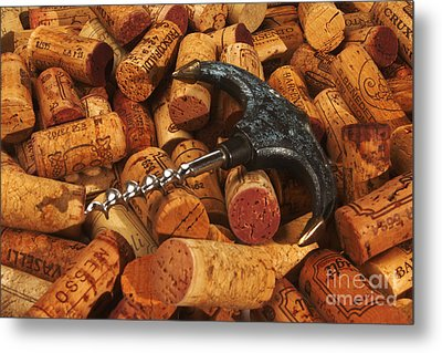 Lots Of Corks And A Cork Screw Metal Print by Stefano Senise