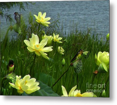 Metal Print featuring the photograph Lotus And Swallows by Deborah Smith