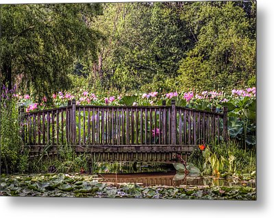 Metal Print featuring the photograph Lotus Garden Pond And Bridge by Jerry Gammon