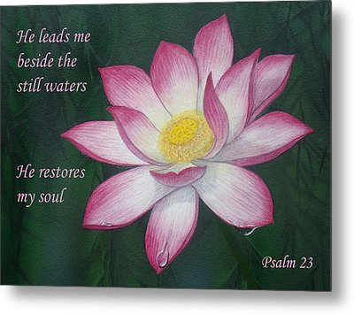 Lotus Lily Psalm Twenty Three Metal Print