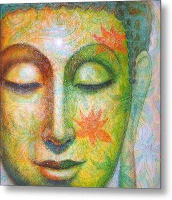 Metal Print featuring the painting Lotus Meditation Buddha by Sue Halstenberg