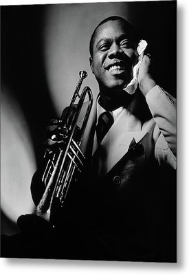 Louis Armstrong Holding A Trumpet Metal Print by Anton Bruehl