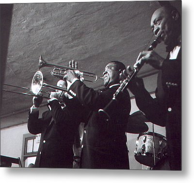 Louis Armstrong Playing The Trumpet With Band Metal Print by Retro Images Archive