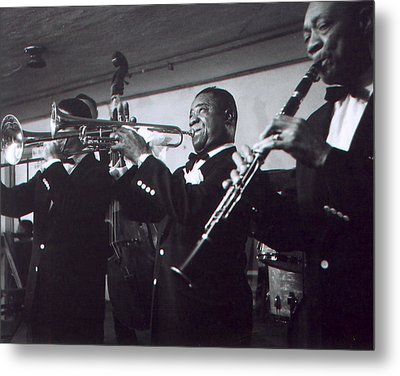 Louis Armstrong Playing With The Band Metal Print