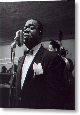 Louis Armstrong Stands In Front Of The Microphone Metal Print