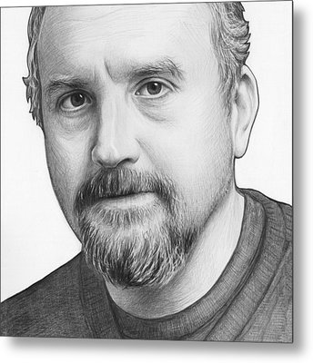 Louis Ck Portrait Metal Print by Olga Shvartsur