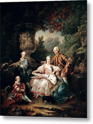 Louis Du Bouchet 1645-1716 Marquis De Sourches And His Family, 1750 Oil On Canvas Metal Print by Francois-Hubert Drouais