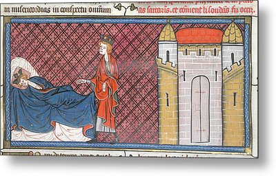 Louis Ix Captured At Mansurah Metal Print by British Library