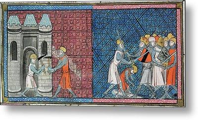 Louis Vii And Emperor Conrad IIi Metal Print by British Library