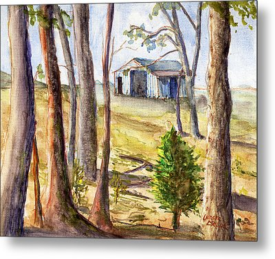 Metal Print featuring the painting Louisiana Barn Through The Trees by Lenora  De Lude