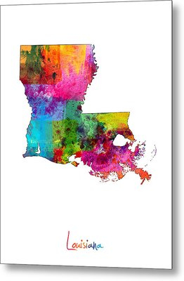 Louisiana Map Metal Print by Michael Tompsett