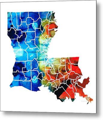 Louisiana Map - State Maps By Sharon Cummings Metal Print