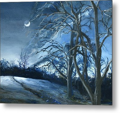 Metal Print featuring the painting Louisiana Pasture In Winter by Lenora  De Lude