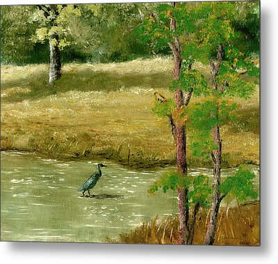 Metal Print featuring the painting Louisiana Pond With Heron by Lenora  De Lude