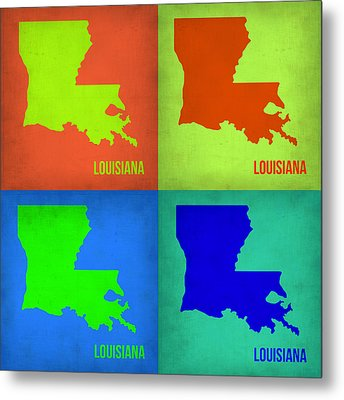Louisiana Pop Art Map 1 Metal Print by Naxart Studio