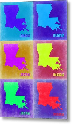 Louisiana Pop Art Map 2 Metal Print by Naxart Studio