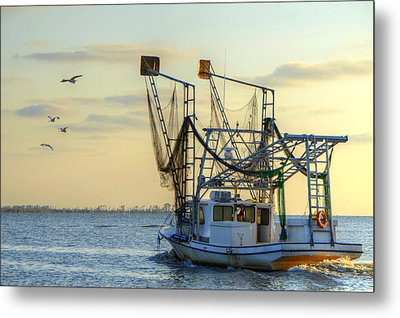 Louisiana Shrimping Metal Print by Charlotte Schafer