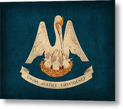 Louisiana State Flag Art On Worn Canvas Metal Print