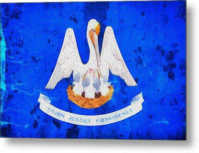 Louisiana State Flag On Worn Canvas Metal Print by Dan Sproul