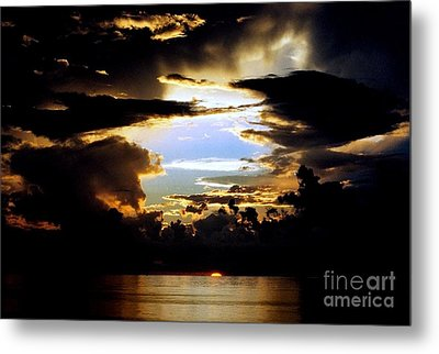 Louisiana Sunset Blue In The Gulf  Of Mexico Metal Print