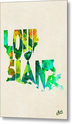 Louisiana Typographic Watercolor Map Metal Print by Ayse Deniz