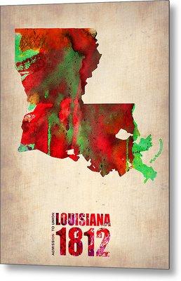 Louisiana Watercolor Map Metal Print