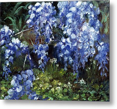 Metal Print featuring the painting Louisiana Wisteria by Lenora  De Lude