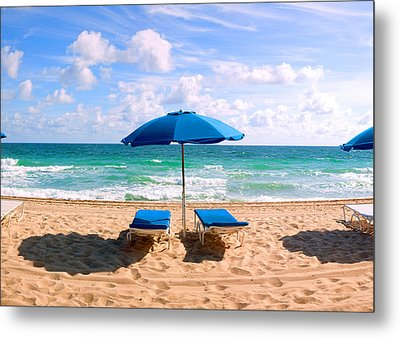 Lounge Chairs And Beach Umbrella Metal Print by Panoramic Images
