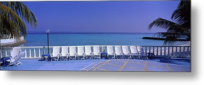 Lounge Chairs, Giraavaru, Maldives Metal Print by Panoramic Images