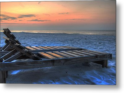 Lounge Closeup On Beach ... Metal Print by Michael Thomas