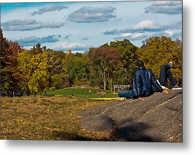 Lounging In Central Park Metal Print by Douglas Adams