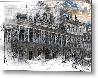 Louvre In A Splash Metal Print by Evie Carrier