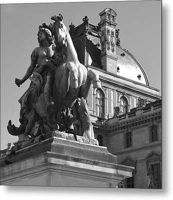 Louvre Man On Horse Metal Print