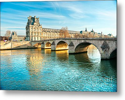 Louvre Museum And Pont Royal - Paris  Metal Print